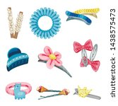 set of hair clips and hair ties.... | Shutterstock .eps vector #1438575473
