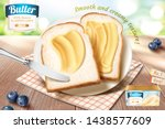smooth butter ads on toast in... | Shutterstock .eps vector #1438577609
