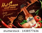 mexican chili hot sauce ads... | Shutterstock .eps vector #1438577636