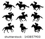 Stock vector racing horses and jockeys silhouettes 143857903