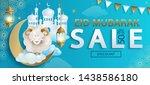 sale banner for eid mubarak ... | Shutterstock .eps vector #1438586180