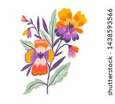 pansies in hand drawn style... | Shutterstock . vector #1438593566