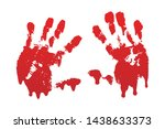 bloody hand print set isolated... | Shutterstock .eps vector #1438633373