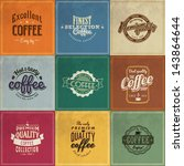 set of vintage retro coffee... | Shutterstock .eps vector #143864644