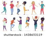 diverse people dancing and...   Shutterstock . vector #1438653119