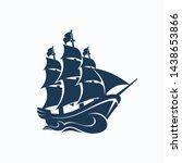 Pirate Ship Sailing Icon Vector