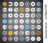 set of flat arrow icons in...