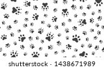 Stock vector animal tracks vector seamless pattern with flat icons black white color pet paw texture dog cat 1438671989