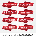 red banner promotion tag design ... | Shutterstock .eps vector #1438674746