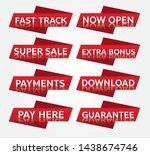 red banner promotion tag design ... | Shutterstock .eps vector #1438674746