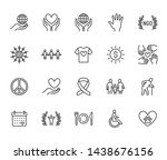 charity flat line icons set.... | Shutterstock .eps vector #1438676156
