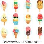 cute kawaii ice cream...   Shutterstock .eps vector #1438687013