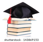 grad hat with books isolated on ... | Shutterstock . vector #143869153