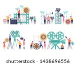 movie production concept. flat... | Shutterstock .eps vector #1438696556