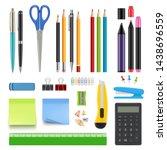 school stationery. pencil sharp ... | Shutterstock .eps vector #1438696559