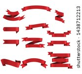 red ribbon set inisolated white ...   Shutterstock .eps vector #1438712213