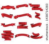 red ribbon set inisolated white ... | Shutterstock .eps vector #1438714283