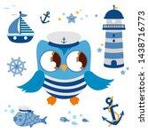 baby sailor owl. marine... | Shutterstock . vector #1438716773