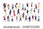crowd of young men and women... | Shutterstock . vector #1438722350