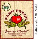 vintage retro farm fresh poster ... | Shutterstock .eps vector #143872603