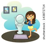 illustration of a girl in the... | Shutterstock .eps vector #143872714