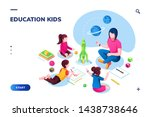 isometric class at kindergarten ... | Shutterstock .eps vector #1438738646