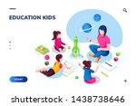 isometric class at kindergarten ... | Shutterstock .eps vector #1438738646
