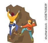 alpinist couple climb the... | Shutterstock .eps vector #1438743839