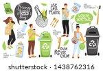 zero waste concept set with eco ... | Shutterstock .eps vector #1438762316