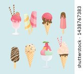 ice cream cone and bar. pastel... | Shutterstock .eps vector #1438767383