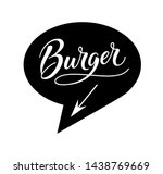 burger logo in bubble cloud... | Shutterstock .eps vector #1438769669