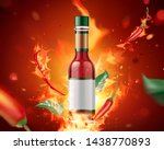 hot sauce product with burning... | Shutterstock .eps vector #1438770893