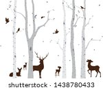 birch tree with deer and birds... | Shutterstock . vector #1438780433