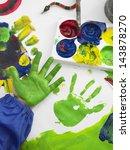 closeup of boy's hand finger... | Shutterstock . vector #143878270