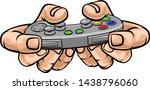 a gamer hand holding video... | Shutterstock .eps vector #1438796060