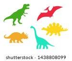 dinosaur vector silhouettes   t ... | Shutterstock .eps vector #1438808099