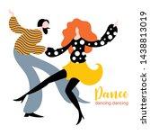 stylized figures of dancing... | Shutterstock .eps vector #1438813019