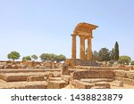 Temple of Dioscuri (Castor and Pollux). Famous ancient ruins in Valley of the Temples, Agrigento, Sicily, Italy. UNESCO World Heritage Site.