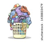 clothes laundry basket. cartoon ... | Shutterstock .eps vector #1438833479