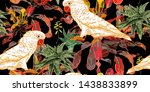 exotic tropical flowers  leaves ... | Shutterstock .eps vector #1438833899