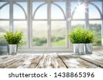 white wooden desk with green... | Shutterstock . vector #1438865396