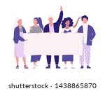 people hold banner. group of... | Shutterstock .eps vector #1438865870