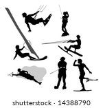 water sports silhouettes | Shutterstock .eps vector #14388790