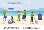 young volunteers clean beach... | Shutterstock .eps vector #1438888673