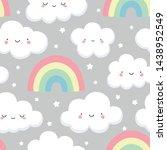 cloud pattern  cute cloud smile ... | Shutterstock .eps vector #1438952549