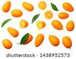 cumquat or kumquat with leaves... | Shutterstock . vector #1438952573