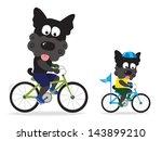 dogs riding bikes | Shutterstock .eps vector #143899210