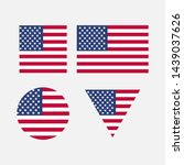 a set of flags of the united... | Shutterstock . vector #1439037626