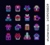 neon gift boxes line vector... | Shutterstock .eps vector #1439058839