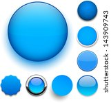 set of blank blue round buttons ... | Shutterstock .eps vector #143909743